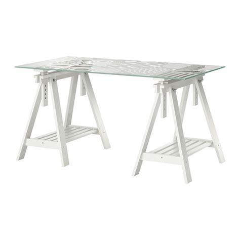 bureau treteau ikea glasholm finnvard mesa vidrio motivo oval blanco ikea