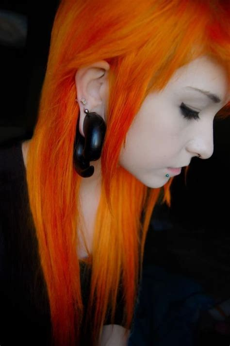 Bright Orange Hair Emo Punk Hairstyles Clothes
