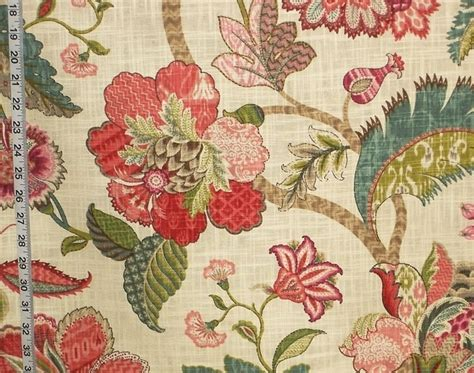 indienne fabric jacobean floral red pink teal from brick