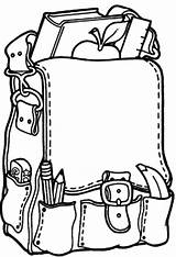Backpack Coloring Pages Goods Open Again Bar Looking Case Don sketch template