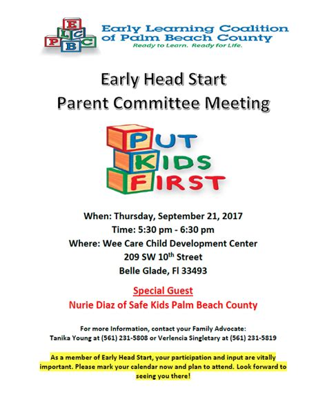 early head start ehs parent committee meeting early