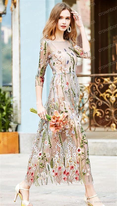 runway dress embroidery 2017 gorgeous half sleeves sheer mesh embroidery dresses bohemian