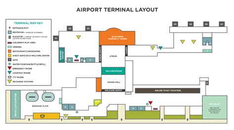 restaurant floor plan with in the terminal asheville regional airport
