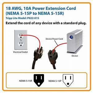 Amazon Com  Tripp Lite Standard Power Extension Cord 10a