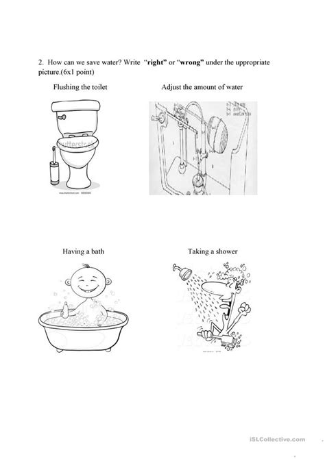 test ecology save water worksheet free esl printable