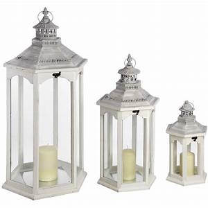 Set of Three Hexagonal Lanterns From Baytree Interiors
