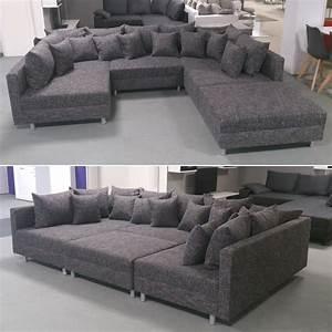 Sofaüberwurf Für Xxl Sofa : wohnlandschaft claudia xxl ecksofa couch sofa mit hocker webstoff lawa 17 ebay ~ Bigdaddyawards.com Haus und Dekorationen