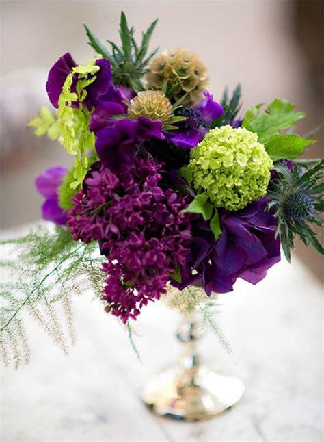 purple  green wedding flowers tablescape centerpiece