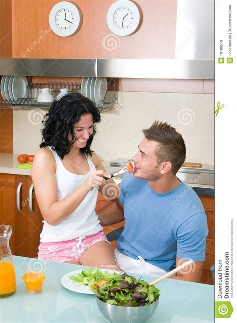 Happy Couple Eating Salad Together Stock Photo   Image