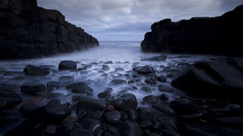 Download Free HD Dark Sea Rocks Desktop Wallpaper In 4K