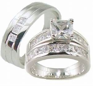 His her 3 piece aaa quality cz wedding ring set 925 for Quality cz wedding ring sets