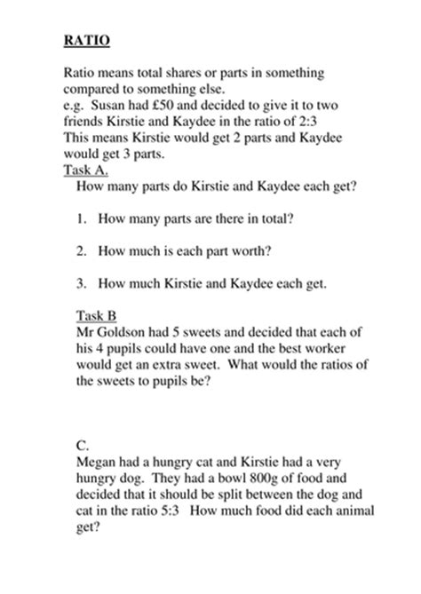 ratio worksheets for ks2 and ks3 by goldson1 teaching