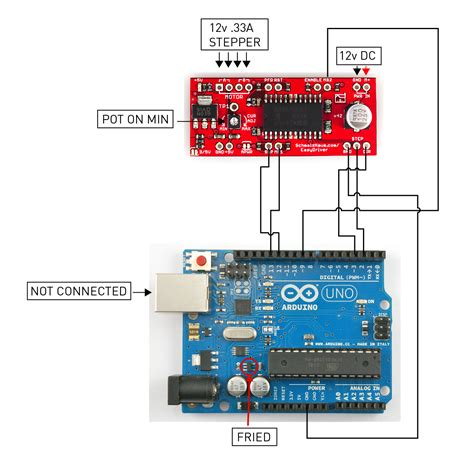 fried my arduino using easydriver and 12v need help