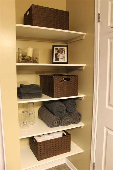 km decor diy organizing open shelving   bathroom