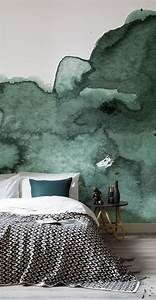 Green Abstract Watercolor Wall Mural