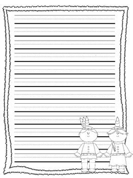primary lined thanksgiving writing paper  allison chunco tpt