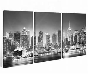 Leinwandbilder Schwarz Weiß : leinwand 3 tlg new york schwarz wei skyline stadt usa bilder wandbild 9a522 holz fertig ~ Markanthonyermac.com Haus und Dekorationen