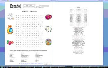 spanish easter vocabulary word search puzzle   word
