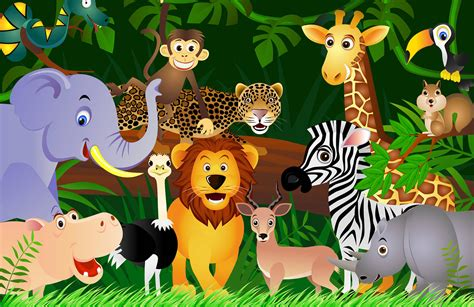 Childrens Animal Wallpaper - jungle animals wallpaper mural murals wallpaper