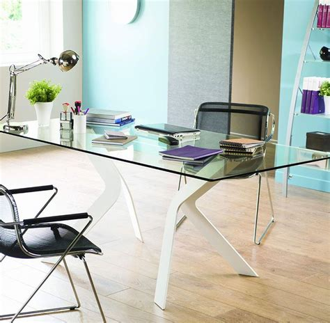 bureau verre metal bureau design en verre et métal cize piètement coloris