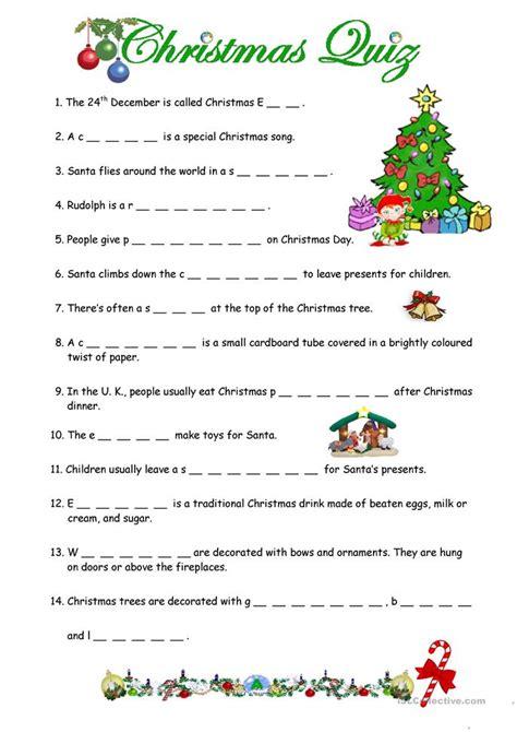 a christmas quiz worksheet free esl printable worksheets