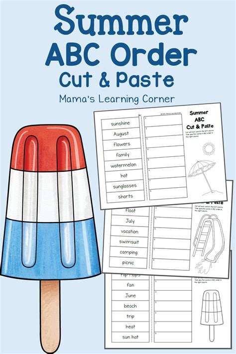 summer cut  paste abc order worksheets mamas