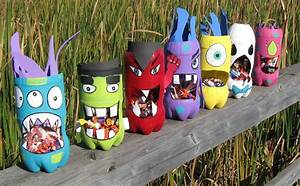 recycled bottle crafts halloween monster