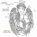 Coloring Angel Pages Adults Printable Adult Fairy Angels Norma Burnell Colouring Sheets Sheet Tangles Fairies Etsy Printables Books Drawing Digital sketch template