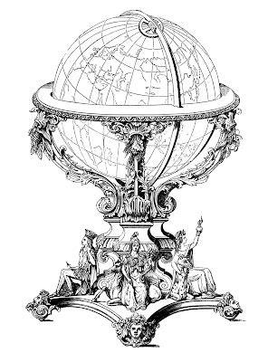 ornate globe steampunk  graphics fairy