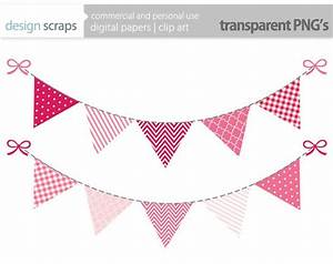 pink bunting banner clip art graphics flag banner by ...