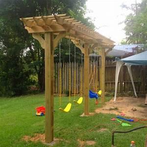 Amazing Pergola Swing Set Plans Garden Landscape