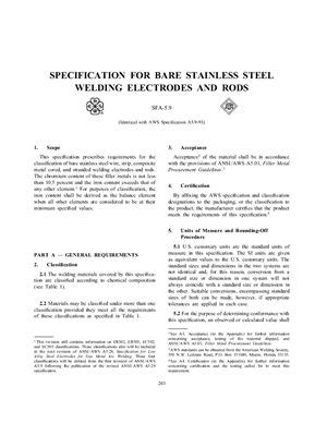 AWS A5.8-92 / ASME SFA-5.8 Specification for filler metals