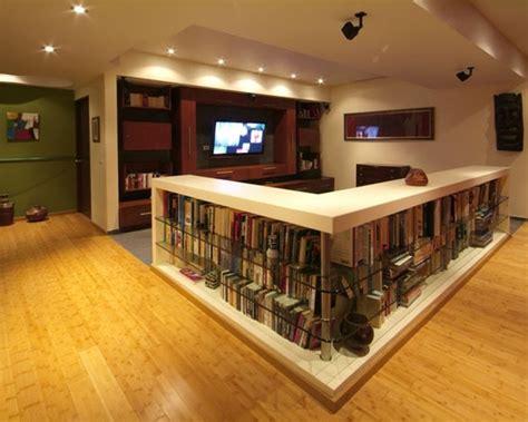 basement design  wall bookshelf room divider