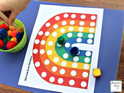 preschool color activites roll and cover rainbow