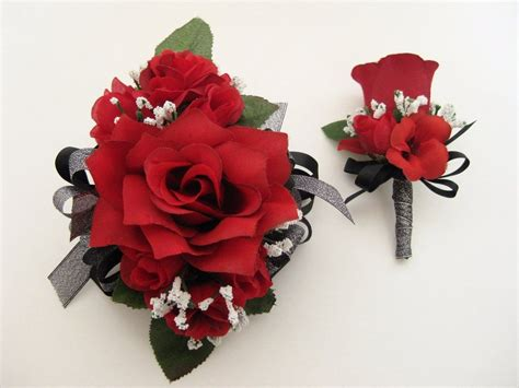 wedding prom metallic black red roses floral wrist corsage