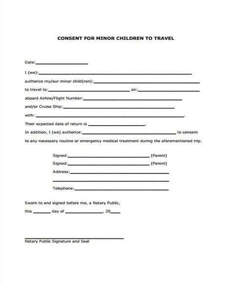 travel consent form samples  sample