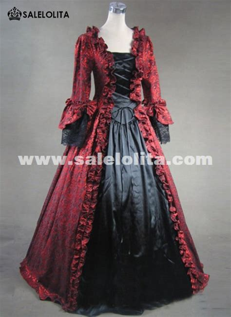 size wine red  black marie antoinette masked ball gothic victorian dresses