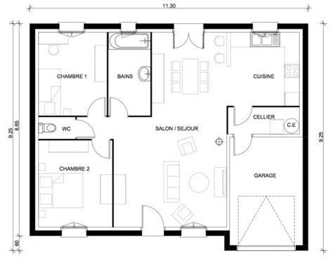 plan maison plain pied 3 chambres 1 bureau plan de maison une