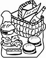 Picnic Basket Coloring Food Clipart Blanket Drawing Clipartmag Netart Print Getdrawings sketch template