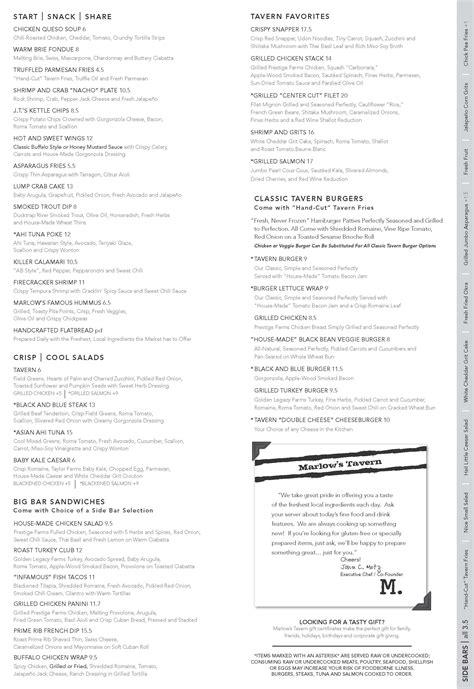 Seven Ls Atlanta Menu by Marlow S Tavern Menu Menu Restauracji Marlow S Tavern