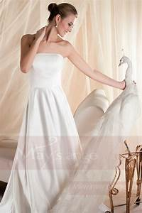 Robe Simple Mariage : robe mariage bustier simple blanche en satin pas cher ~ Preciouscoupons.com Idées de Décoration