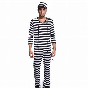 Mens Womens Convict Costume Jail Jumpsuit Orange Prisoner Black White Striped AU