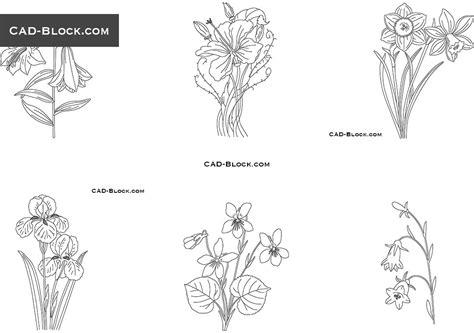 Flowers Cad Blocks Download, Plants, Autocad 2000 Format