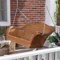 wicker porch swings Coral Coast Casco Bay Resin Wicker Porch Swing - Honey - Porch Swings at Hayneedle