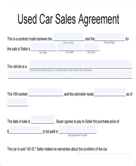 vehicle sales agreement samples  word