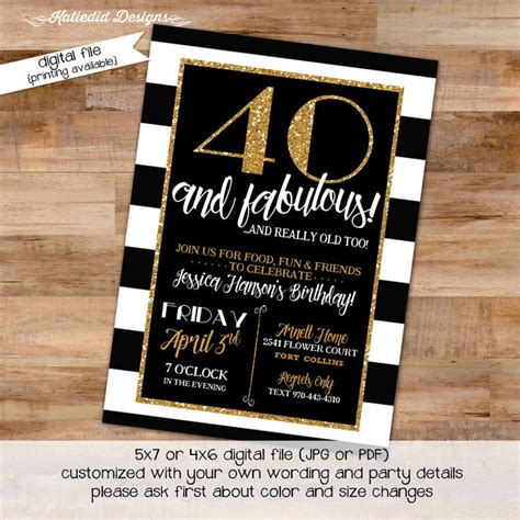40th Birthday invitation black and white by Katiedid