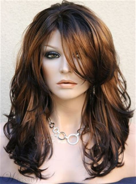 long layered wavy side swept fringes hairstyle synthetic