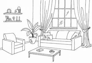 living room clipart black and white 1 | Clipart Station