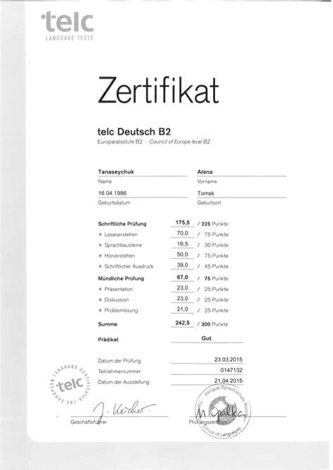 alyona tanaseychuk  deutsch telc zertifikat