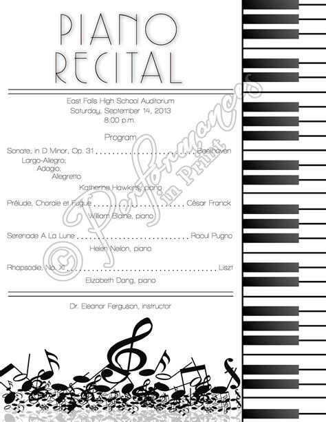 Musical Program Template by Piano Recital Concert Program Concert Programs
